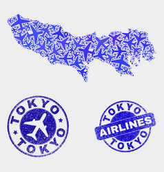 Air plane mosaic tokyo prefecture map and vector