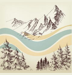 Alpine landscape valley and pine forest sketch vector