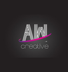 Aw a w letter logo with lines design and purple vector