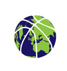 basketball earth silhouette vector image