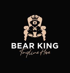bear king chair inspiration logo vector image
