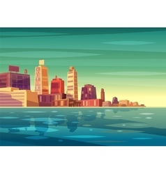 beautiful sunrise over cartoon city with vector image
