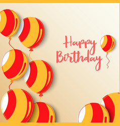 birthday poster with balloons in red orange design vector image