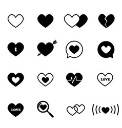 black heart icon set vector image
