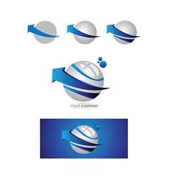Blue arrow sphere 3d logo vector image