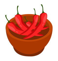 Brown bowl with red hot chili pepper eco natural vector