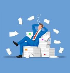 business man character sleep in bunch papers vector image