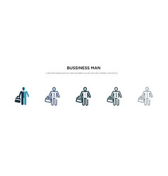 Bussiness man icon in different style two vector