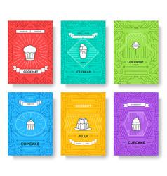 cake thin line brochure cards set happy birthday vector image