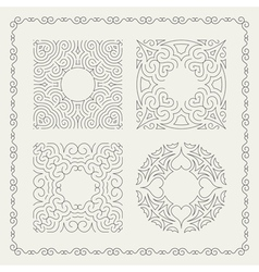 Calligraphic Frame Retro Design line art vector