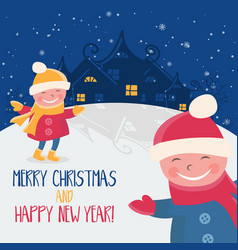 cartoon for holiday theme with child on winter vector image