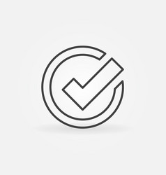 Check mark icon in thin line style vector