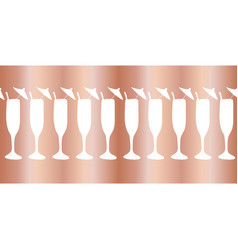 Copper foil champagne flute seamless border vector