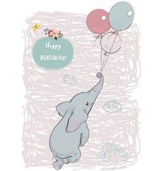 cute elephant fly with balloons vector image