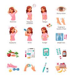 Diabetes cartoon icons set vector