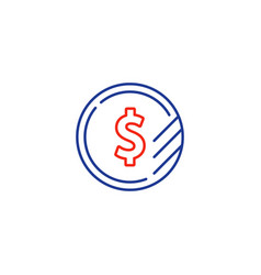 Dollar sign coin icon financial currency exchange vector