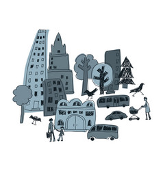 doodles urban city abstract landscape and people vector image