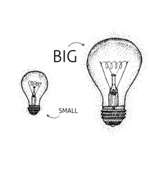 Dotwork big small lightbulbs vector