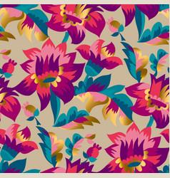 Elegant blossom hand drawn seamless folk pattern vector