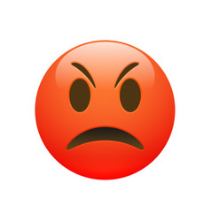 Emoji red angry sad face vector