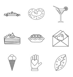 Falling in love icons set outline style vector