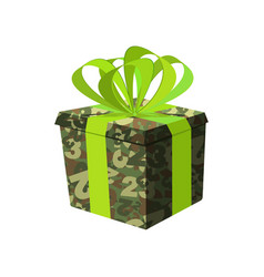 February 23 military gift box day defender of vector