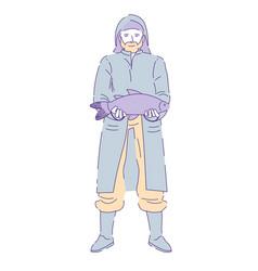 Fisherman with wish wearing raincoat and gumboots vector