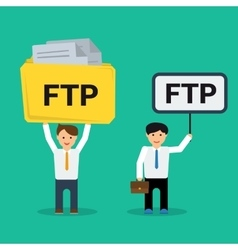 Flat businessmen with FTP sign vector image