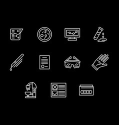 Forensic expertise white line icons set vector