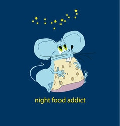 Funny little mouse eating in the night food addict vector