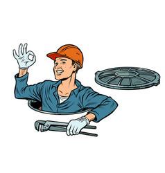 Gesture ok okay plumber in manhole vector