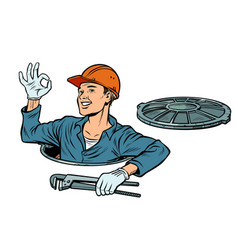 Gesture ok okay plumber in the manhole vector