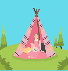 Girl inside teepee traditional native america tent vector