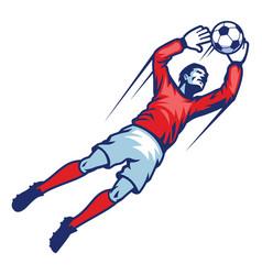 Goalkeeper catch ball vector