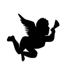 Golden christmas angel silhouette icon vector