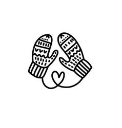 hand drawn christmas kid mittens sketch symbol vector image
