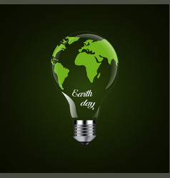 happy earth day - design light bulb vector image