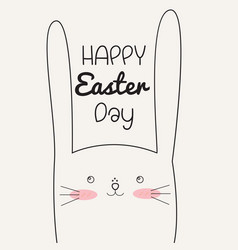 happy easter day with easter rabbit vector image