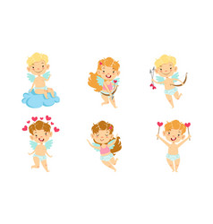 happy smiling baangels with wings set adorable vector image