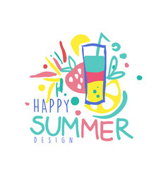 Happy summer logo design label for summer holiday vector