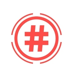 Hashtag icon in red double circle vector