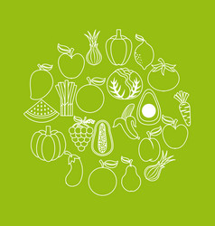 Healthy organic vegetarian foods related icons vector