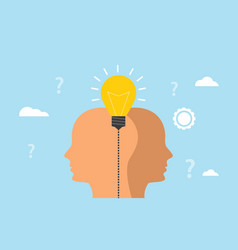 idea and imagination concept with human men head vector image