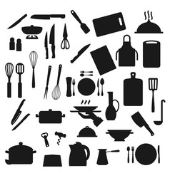 Kitchen utensils cooking kitchenware and cutlery vector