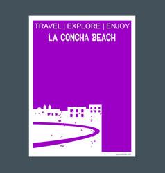 La concha beach spain monument landmark brochure vector