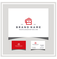 Letter cb home logo design and business card vector