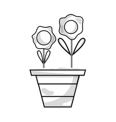 Line flowers with petals and leaves inside vector