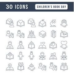 line icons children book day vector image