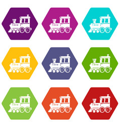 Locomotive icons set 9 vector