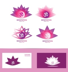 Lotus flower aum symbol logo icon vector
